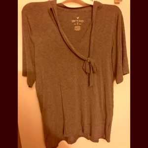 American Eagle Soft and Sexy Tie Neck Tee Size XL